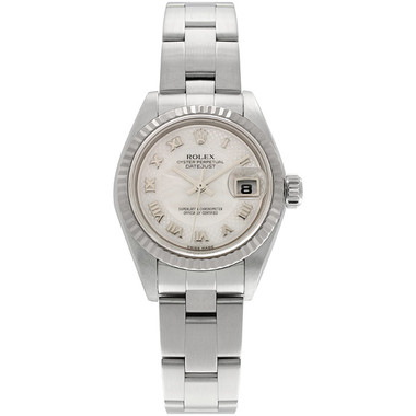 Pre-owned Rolex, Datejust Mid-Size Stainless Steel and White Gold Fluted Bezel Watch with White Dial and Oyster Bracelet