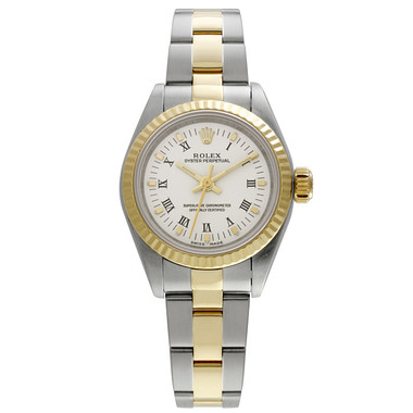 Pre-owned Rolex, No-Date Lady Stainless Steel and Yellow Gold Fluted Bezel Watch with White Dial, Roman Numeral Markers and Oyster Bracelet