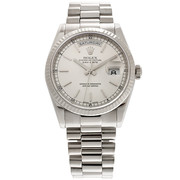Pre-owned Rolex, Day-Date  White Gold Fluted Bezel Watch with Sylver Dial and President Bracelet